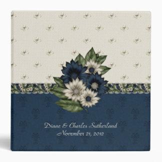 Carpeta floral azul y de marfil hermosa del boda