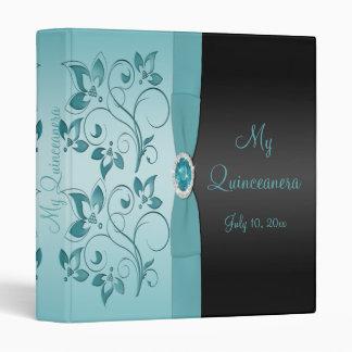 Carpeta floral azul y negra de Quinceanera
