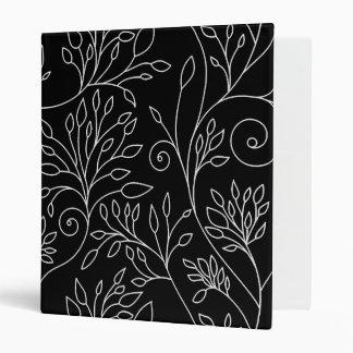 Carpeta floral blanco y negro