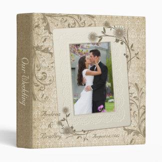 Carpeta floral de la foto del boda del vintage ada