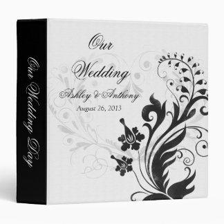 Carpeta floral del boda del vintage blanco y negro