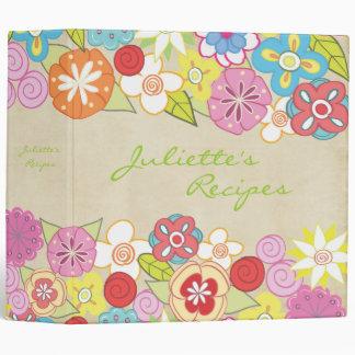 Carpeta floral del libro de la receta de los