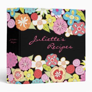 Carpeta floral del libro de la receta de los flore