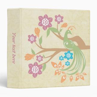 Carpeta floral del personalizable del pavo real de
