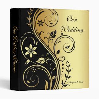 Carpeta floral del planificador del boda del oro y