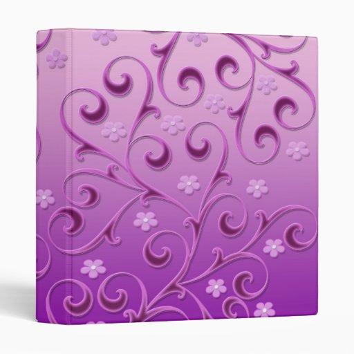 Carpeta floral púrpura de la plantilla de los remo