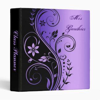 Carpeta floral púrpura del planificador de la