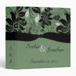 Carpeta floral verde y negra del boda