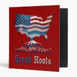 Carpeta griega de las banderas americanas