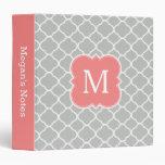 Carpeta gris coralina de la escuela del monograma