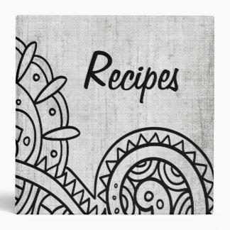 Carpeta gris de la receta del adorno de Mehndi