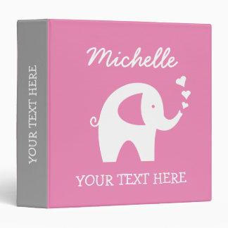 Carpeta gris rosada personalizada con el elefante