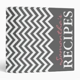Carpeta gris y coralina personalizada de la receta