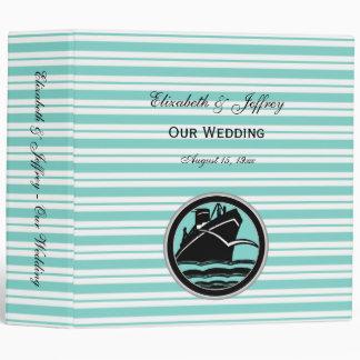 Carpeta náutica de Lt Blue White Stripe Wedding de
