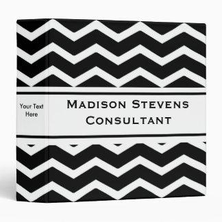"Carpeta negra elegante moderna 1,5"" del zigzag"