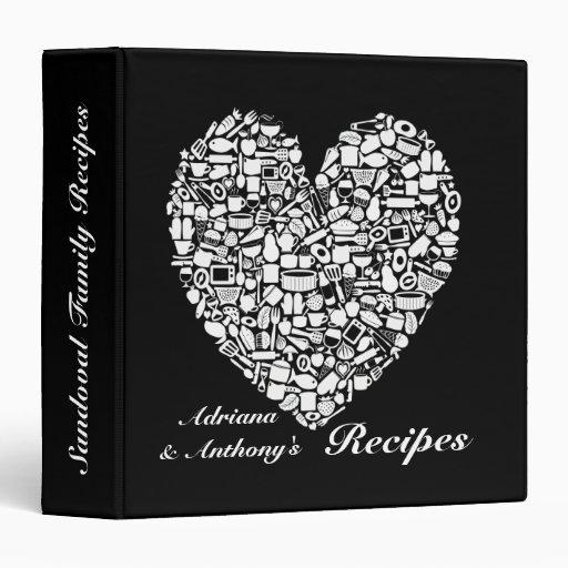 Carpeta negra y blanco personalizada de la receta