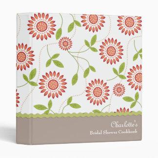 Carpeta nupcial floral retra de la receta del libr