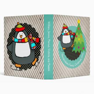 Carpeta patinadora alegre de los pingüinos del