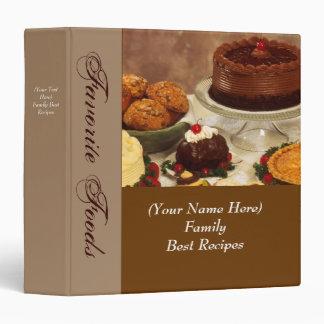 Carpeta personalizada de la comida de la receta o