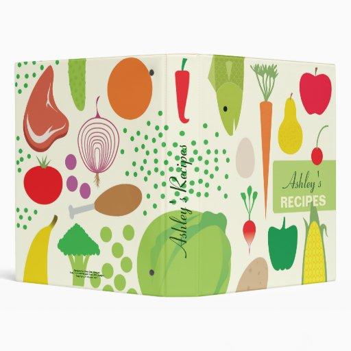 Carpeta personalizada de las recetas de la comida