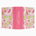 Carpeta personalizada Paisley rosada de moda de la