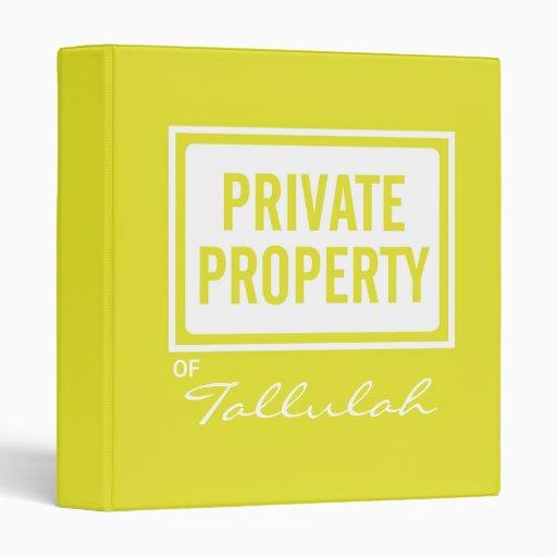 Carpeta personalizada propiedad privada amarilla d