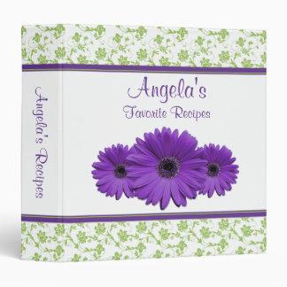 Carpeta púrpura de la receta del damasco del verde