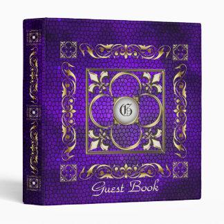 Carpeta púrpura del libro de visitas de la flor de