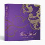 Carpeta púrpura del libro de visitas de la voluta