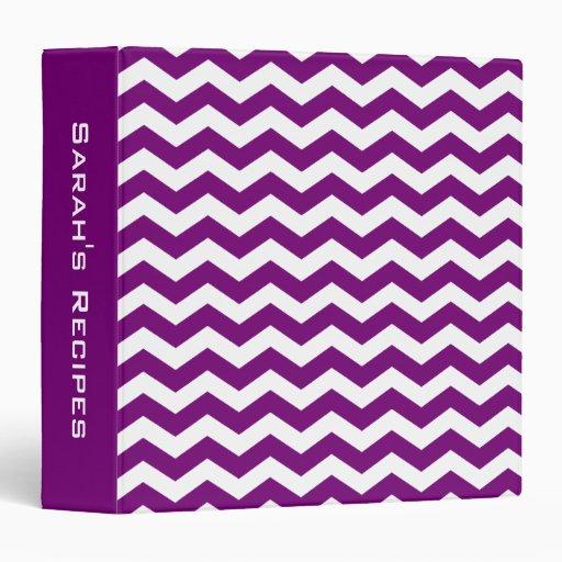 Carpeta púrpura personalizada de la receta de Chev