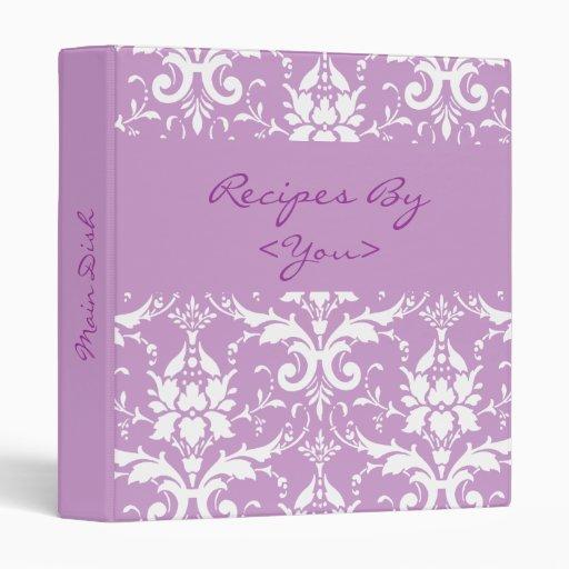 Carpeta púrpura y blanca del libro del cocinero de