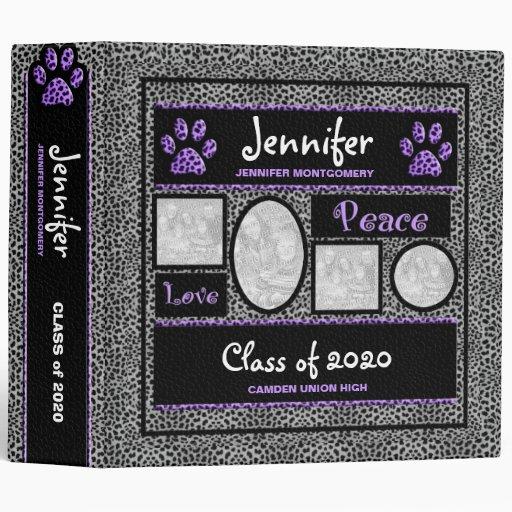 Carpeta púrpura y de plata de la foto de la escuel
