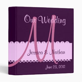 Carpeta PÚRPURA y ROSADA del planificador del boda