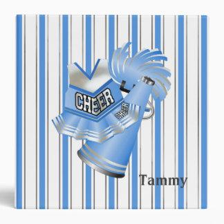 Carpeta rayada azul y blanca de la animadora