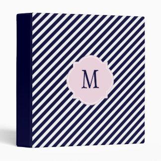 Carpeta rayada del azul marino y blanca del monogr