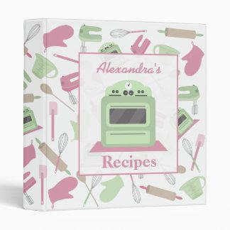 Carpeta retra de la receta de la cocina del rosa y