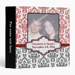 Carpeta roja blanca negra del boda del damasco