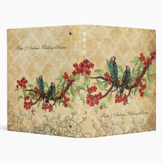 Carpeta roja de la flor de cerezo del pájaro del a