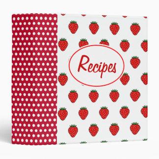 Carpeta roja de la receta de la fresa del punto