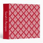 Carpeta roja personalizada de la receta del damasc