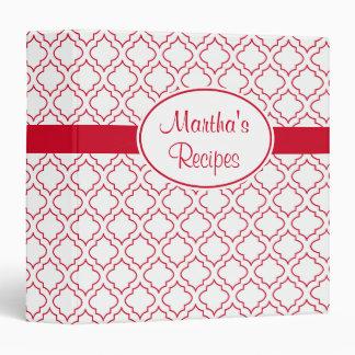 Carpeta roja y blanca personalizada de la receta