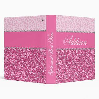 Carpeta rosada de Bling del leopardo del diamante