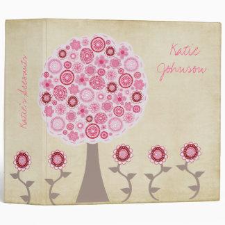 Carpeta rosada de la carpeta del árbol del flor de