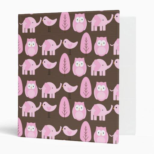 Carpeta rosada de los búhos, de los elefantes y de