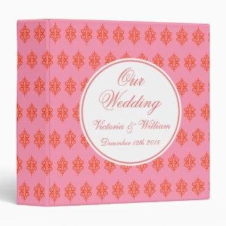 Carpeta rosada del boda del cordón