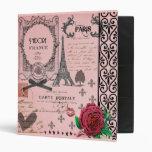 Carpeta rosada del collage de París del vintage