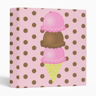 Carpeta rosada del cono de helado de la inmersión