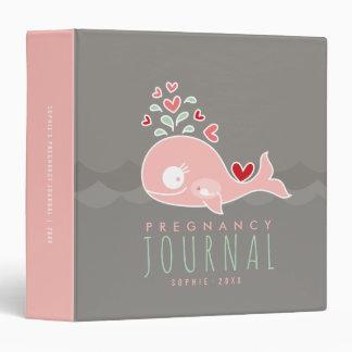 Carpeta rosada del diario del embarazo de la niña