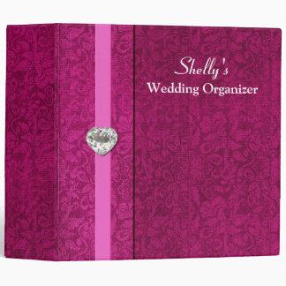 Carpeta rosada elegante del organizador del boda