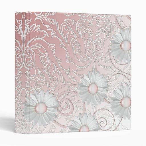 Carpeta rosada romántica elegante del damasco